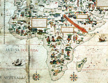 Add 24065: Detail of a map of the world showing Africa by Pierre Descaliers