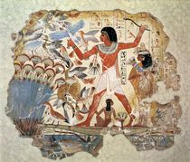 Nebamun hunting in the marshes with his wife an daughter by Egyptian 18th Dynasty