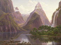 Native figures in a canoe at Milford Sound by Eugen von Guerard
