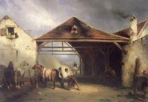 A Farrier shoeing a Horse  by Francois-Emile de Lansac