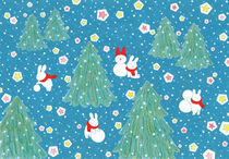 Snow hare and snowman by Ayumi Yoshikawa