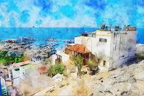 Painting of Puerto de Morgan at Gran Canaria Island. Spain. von havelmomente