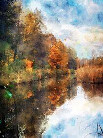 Aquarell Herbst. Herbstliche Landschaft an einem See. Buntes Laub. by havelmomente