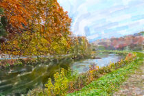 Watercolor illustration of Isar river nature in autumn time. Germany. by havelmomente