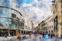 Stadtansicht von Erfurt. Altstadt mit Einkaufspassagen. by havelmomente
