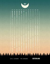 Green Moon Phases Calendar 2021 Germany von imagonarium