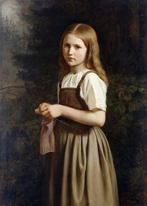 Girl Knitting by Minna Heeren