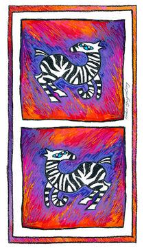 Zebras in Farbe von Bärbel Stangenberg