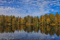 Herbst am Moorsee mit Fischerboot im Pfrunger-Burgweiler Ried von Christine Horn