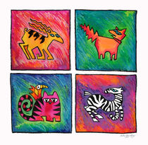 4 Tiere im Quadrat von Bärbel Stangenberg
