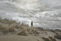 Der Leuchtturm hinter den Dünen von Claudia Evans