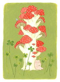 Lucky pig with mushroom tree von Ayumi Yoshikawa