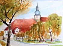 Dorfmittelpunkt mit Kulturhaus und Kirchturm in Nemsdorf von Heike Jäschke