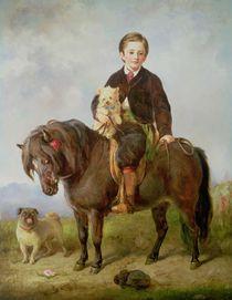 John Samuel Bradford as a boy seated on a shetland pony with a pug dog by Gourlay Steel