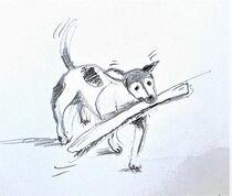 Kleiner Hund mit großem Stock von Heike Jäschke