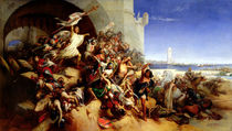 The Defence of Rhodes by Foulques de Villaret  von Gustave or Gustaaf Wappers