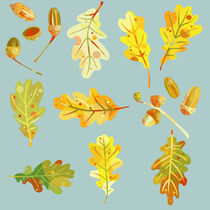 Oak Leaves and Acorns Blue by Nic Squirrell