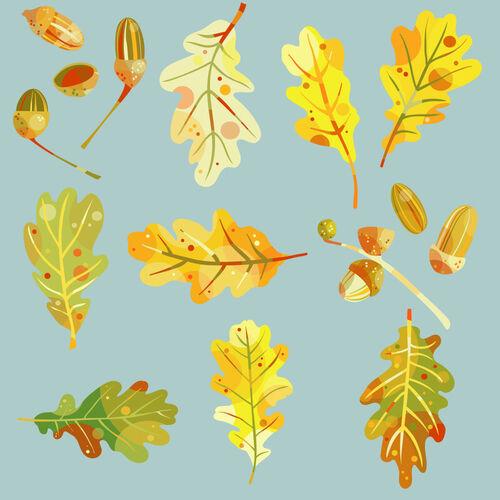 Oak-leaves-and-acorns-teal-8000