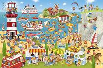 Wimmelbild_Sommer, Strand und Camping von Marion Krätschmer