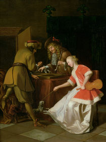 Tric-trac Players with a Lady and Her Dog  by Jacob Ochtervelt