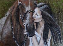 Frau mit Pferd by Marion Hallbauer
