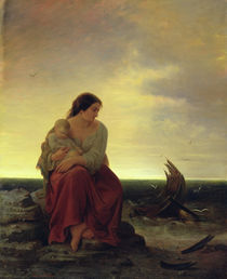 Fisherman's Wife Mourning on the Beach  by Julius Muhr