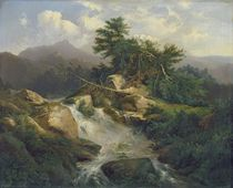 Forest Landscape with Waterfall  by Julius Bakof
