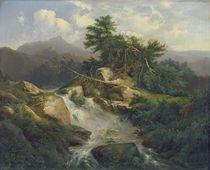 Forest Landscape with Waterfall  von Julius Bakof