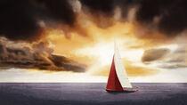 'Red sail and sunset' von Hajarimanitra Rambeloarivony
