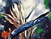 Bird of Paradise with Sunbathing Lizard by eloiseart