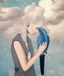 You Are Safe with Me - Woman with Parrot von Paula  Belle Flores