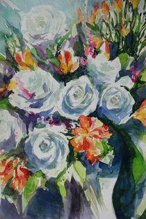 Farbkleckse bei den weissen Rosen von Sonja Jannichsen