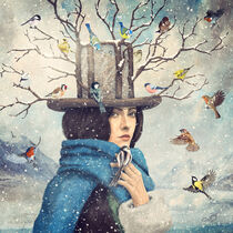 The Lady With the Bird Feeder Hat by Paula  Belle Flores