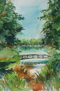 Idyllische Brücke im Wald von Sonja Jannichsen