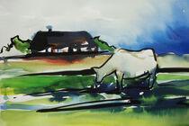 Haus mit Kuh von Sonja Jannichsen