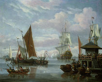 Estuary Scene with Boats and Fisherman  by Johannes de Blaauw