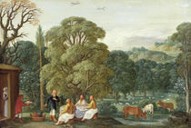 Abraham entertaining the Three Angels  by Johann or Hans Konig