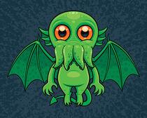 Cute Green Cthulhu Monster by John Schwegel
