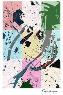 Copenhagen, city map print von dandistudio