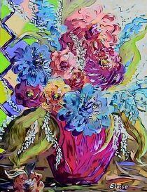 Flowers in a Hot Pink Vase by eloiseart