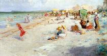 A Busy Beach in Summer  by Alois Hans Schram