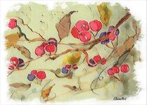 Cherry Branch on Rice Paper by eloiseart