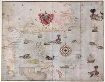 Map of Eastern North America: Florida to Chesapeake Bay  von John White