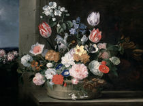 Flowers in a Basket von Jan van den Hecke