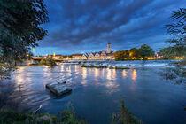 Nürtingen nächtliche Ansicht Neckar und Stadtkulisse von Christoph Hermann