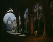 Interior of an Abbey in Ruins by Hippolyte Victor Valentin Sebron