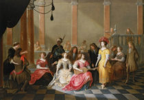 An Elegant Company at Music Before a Banquet  by Hieronymus Janssens