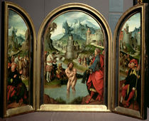 Triptych of the Cleansing of Naaman: the centre panel depicts Naaman von Cornelis Engelbrechtsen