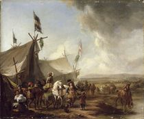 In front of the Market Tent  by Pieter Wouwermans or Wouwerman