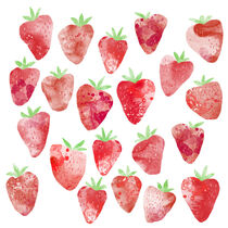 Strawberries Watercolor by Nic Squirrell